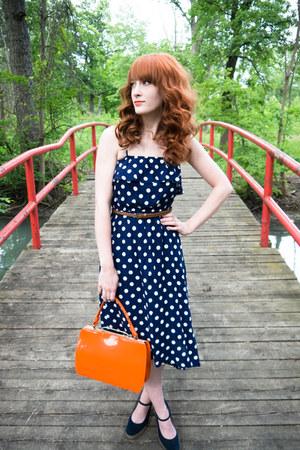 high-low Target dress - orange vintage purse - mary jane Old Navy wedges