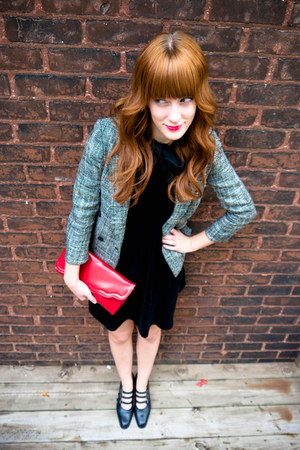tweed vintage blazer - black velvet vintage dress - red vintage purse