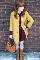 mustard vintage coat - tawny vintage boots - maroon vintage dress
