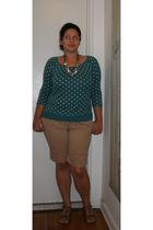 blue Old Navy shirt - beige Gap shorts - silver Isaac Mizrahi for Target shoes -
