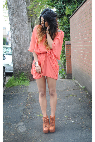Jeffrey Campbell heels - coral TJ Maxx dress