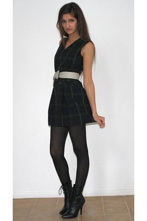 blue vintage from Ebay dress - black boots - black H&M tights