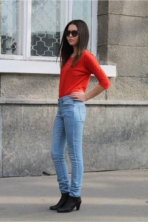 boots boots - Mango jeans - Polaroid sunglasses - Promod top