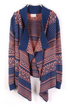 Bohemian Waterfall Drape Open Front Cardigan - Navy