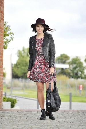 floral dress new look dress - burgundy parofis hat