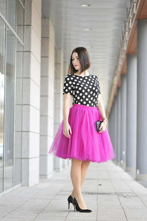 tulle FANFARONADA skirt - dots new look blouse