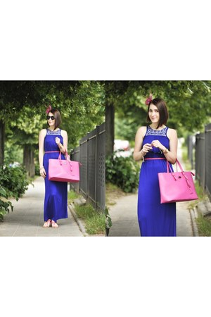 pink shopper orsat bag - new look dress