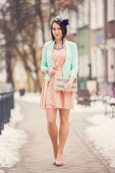 nude new look shoes - bow cream new look dress - flowers misstery accessories