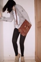 thrifted jacket - vintage purse - tights - thrifted shoes