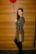 gold philip lim dress - black Calzedonia stockings - black celyn b shoes - Acces