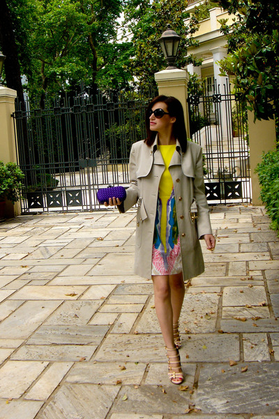 beige Gucci coat - Tibi dress - beige Sebastian shoes - purple Bottega Veneta pu