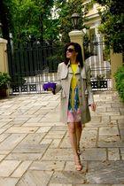 beige Gucci coat - Tibi dress - beige Sebastian shoes - purple Bottega Veneta pu