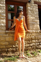orange Yigal Azruel dress - black dvf shoes - brown Gucci wallet - black armani