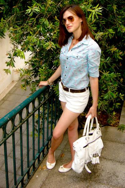 blue denim Zara shirt - white tory burch shoes - white Luella bag