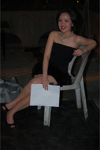 black Zara dress - black The Ramp shoes - silver vintage accessories - silver vi