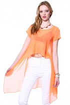 Chiffon Tail Tee - Neon Orange