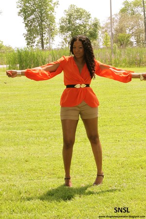 brown Zara shorts - carrot orange BCBG top - dark brown Chinese Laundry heels