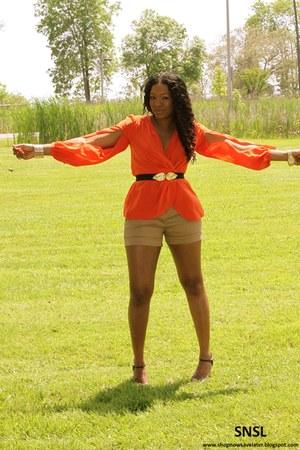 brown Zara shorts - carrot orange BCBG top - dark brown Chinese Laundry heels