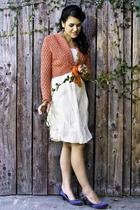 gray shoes - white bubble dress dress - orange wrap swater sweater - earrings