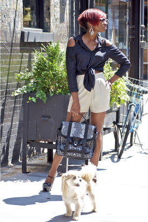 PROENZA SCHOULER bag - beige Kova & T shorts - black Mayne top - mui mui loafers