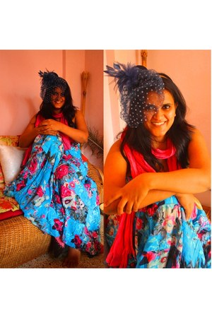 blue dress - blue fascinator Vero Moda hat - hot pink Fabindia scarf
