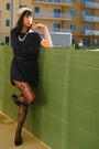 Blue-h-m-dress-black-tights-black-banana-republic-outlet-shoes-silver-vint