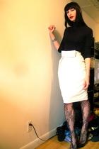 white Walter skirt - black H&M top - black Steve Madden shoes