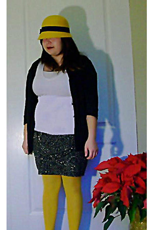 yellow hat - white shirt - yellow tights - black skirt - black cardigan