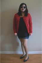red cardigan - black spikes flats