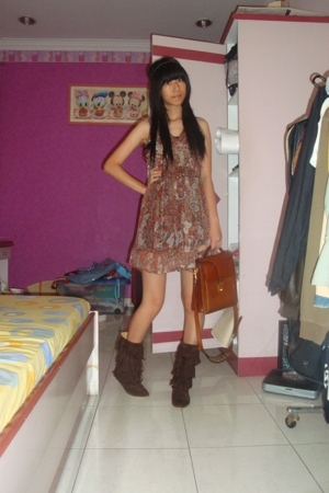 River Island accessories - Orange dress - daddys bag - Bugis Street boots