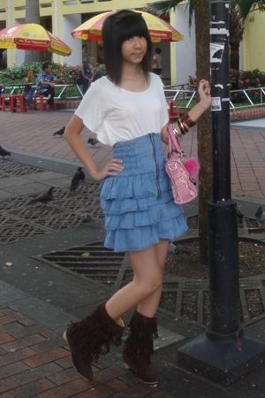 Orange shirt - Guess - Far East Plaza skirt - Bugis Street boots