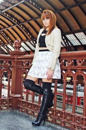 black leather boots - ivory leather jacket jacket - white skirt