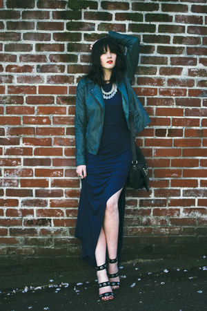 maxi for elyse dress - leather Anthropologie jacket