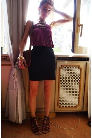 Bershka shirt - H&M skirt - Zara shoes - vintage purse