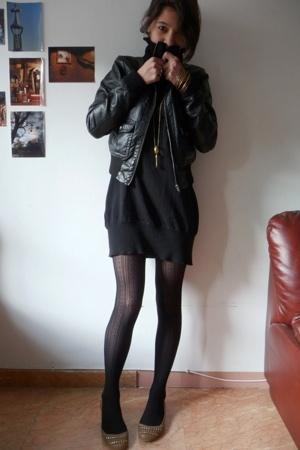 H&M jacket - Promod dress - Calzedonia tights - Zara shoes