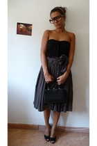 pull&bear top - Zara skirt - gift shoes - Grandmothers purse - none glasses