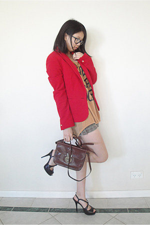 red Zara blazer - dark brown Bonia bag - tawny cecil mcbee t-shirt