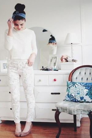 floral denim Forever 21 pants - Forever 21 wedges