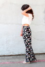 Salmon-forever-21-bag-nude-lulus-wedges-black-floral-savoir-faire-pants