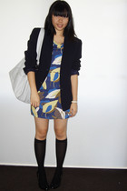 blazer - FCUK dress - stockings - tony bianco shoes - Sportsgirl
