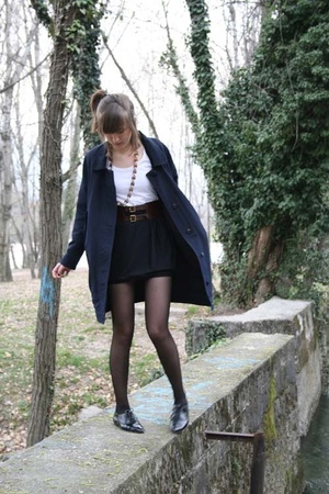 acne coat - Hand Made skirt - vintage belt