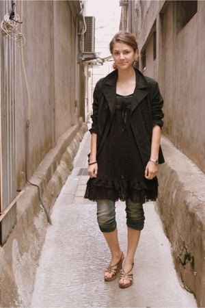 Gap jacket - taiwan fleamarket dress - jeans - shoes