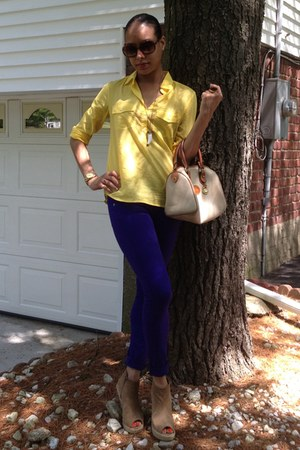 camel Jeffrey Campbell wedges - purple Rag and Bone jeans - yellow JCrew shirt