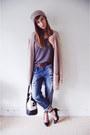 Zara-jeans-garage-clothing-hat-aldo-purse-h-m-cardigan-forever-21-heels