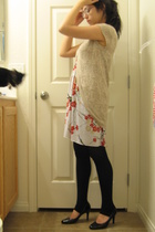 beige Wet Seal sweater - white top - black rue21 - black payless shoes