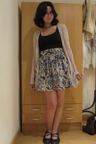 black Skechers shoes - Stradivarius skirt - blue cotton on top - beige cotton on
