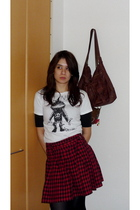 white Anna Sui t-shirt - red French Connection skirt - brown accessories - black