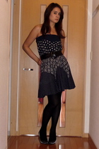 blue Topshop dress - silver diana shoes - gray Tutuanna tights