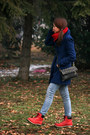 Navy-blue-house-coat-skinny-zara-jeans-knitted-grandmas-scarf