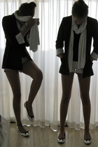 blazer - shorts - top - scarf - shoes